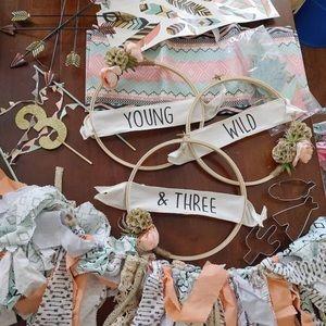 Handmade Young, Wild and Three birthday decor